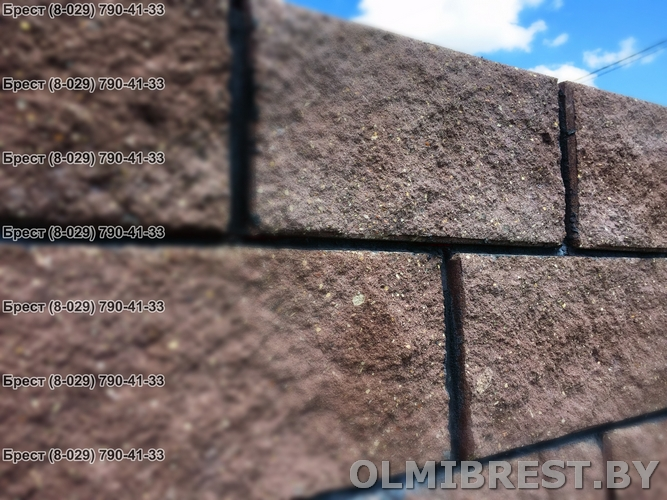 Блок демлер фото коричневый 20х20х40 декоративный тёмная расшивка швов