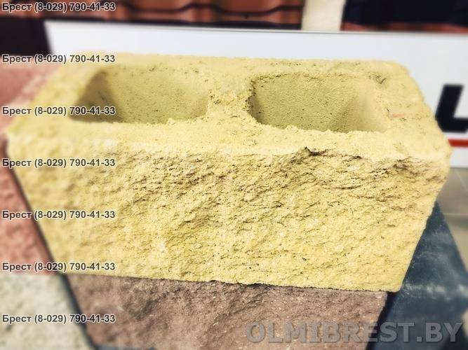 Блок демлер фото 20х20х40 декоративный жёлтый в ОЛМИ маркетстрой