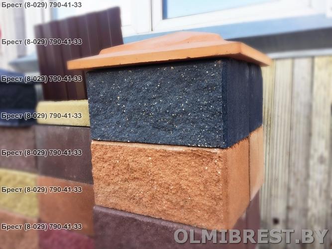 Цветные бетонные шляпки на столбики в Бресте