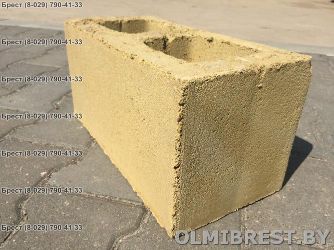 Блок демлер фото жёлтый 20х20х40 декоративный с обратной стороны