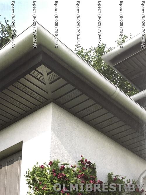 Соффит VOX SV-07 Графитовый с перфорацией фото на доме внешний угол