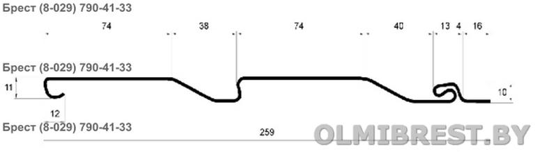 Чертёж размеры сайдинга Grand Line в Бресте